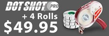 Dot Shot Pro Demo Kit with dispenser and 4 refill rolls